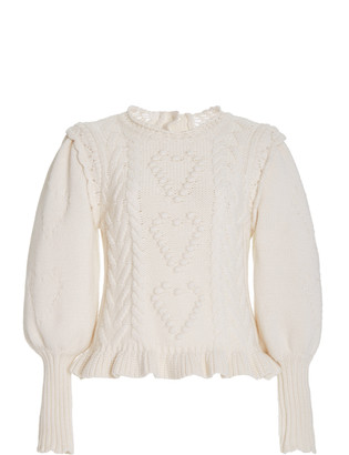 LoveShackFancy Calantha Embroidered Cable-Knit Sweater