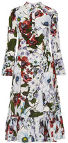 Erdem Connie Floral-printed Silk Crepe De Chine Dress - White