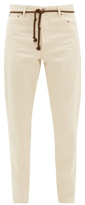 Nanushka Ilya Cord-belt Cotton Slim-leg Trousers - Cream