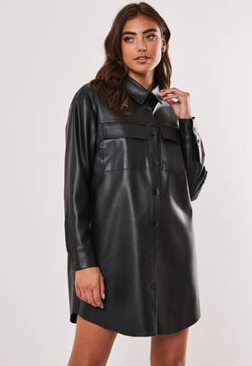 Missguided Black Faux Leather Oversized Shirt Dress