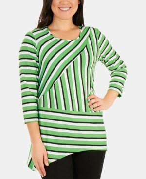 NY Collection Striped 3/4-Sleeve Handkerchief-Hem Top