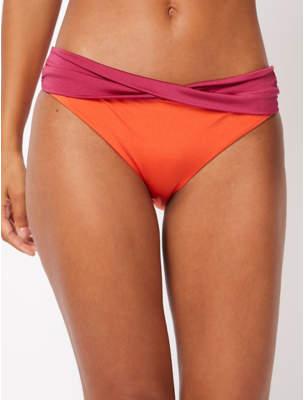 George Orange Twisted Waist High Leg Bikini Bottoms