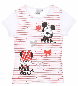 Disney Minnie Mouse Girls T-Shirt Short Sleeve Tops T-Shirts Size 100% Cotton - White Red Stripes 6