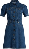 Miu Miu Gingham-tie A-line denim dress