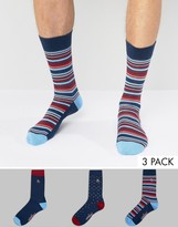 Original Penguin 3 Pack Socks Mixed Stripe and Spot