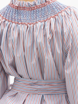 Loretta Caponi Maria Striped Cotton-poplin Blouse - Blue Stripe