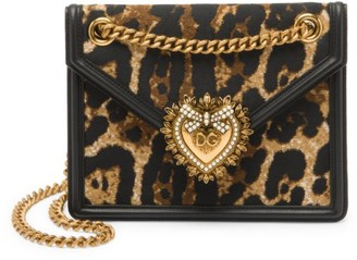 Dolce & Gabbana Mini Devotion Leopard-Print Shoulder Bag