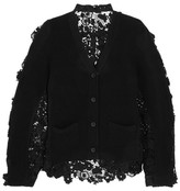 Sacai Flower Chemical Wool And Cotton-lace Cardigan - Black