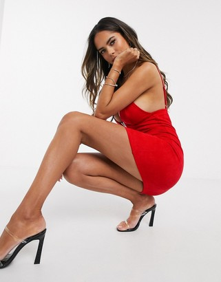 Saint Genies mini dress with V plunge front in red