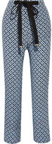 Marni Printed Silk Crepe De Chine Wide-leg Pants - Blue