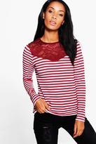 Boohoo Lula Lace Trim Striped T-Shirt