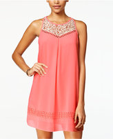 Amy Byer Juniors' Lace-Yoke Crochet Shift Dress