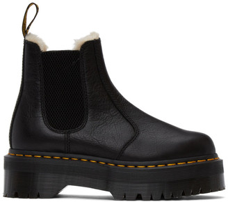 Dr. Martens Black Faux-Fur Lined 2976 Quad Boots