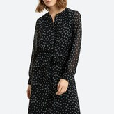 La Redoute Collections Floral Midi Shirt Dress with Tie-Waist and Long Sleeves