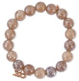 Sydney Evan 10mm Faceted Gray Chalcedony Bracelet w/ 14k Rose Gold Diamond XO Charm
