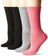 Dr. Scholl's Women's Flat Knit Relaxed Fit Crew Value 4 Pack Sock