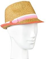 Merona Women's Straw Hat Fedora Pink Stripe