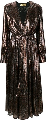 MSGM Leopard-Print Sequinned Dress