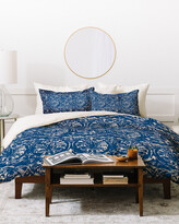 Deny Designs Pattern State Deer Damask Indigo Duvet Cover Set