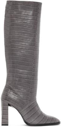 BY FAR Grey Croc Camilla Tall Boots