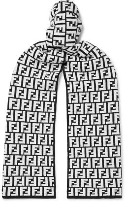 Fendi Logo-Jacquard Wool Scarf
