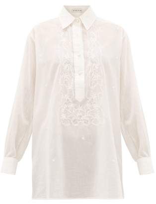 Etro Floral-embroidered Cotton Blouse - Womens - White