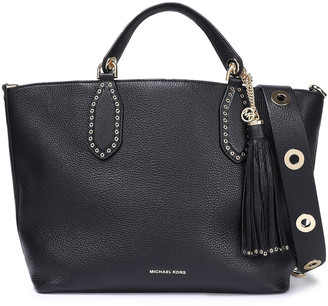 MICHAEL Michael Kors Brooklyn Eyelet-embellished Textured-leather Shoulder Bag