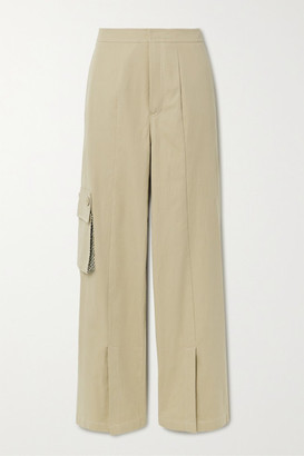 ANDERSSON BELL Danielle Tweed-trimmed Cotton-blend Twill Wide-leg Pants - Beige