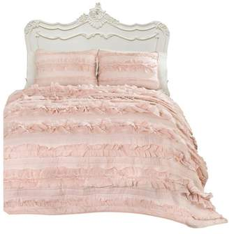 Triangle Home Fashion Belle Pink Blush 3-Piece Quilt Set, Full/Queen