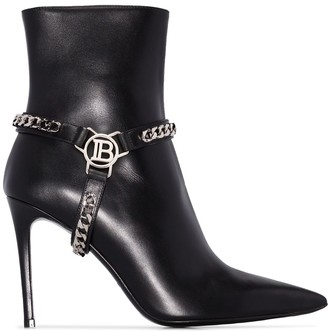 Balmain Ora 95mm harness ankle boots