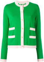 Tory Burch contrast trim cardigan - women - Silk/Merino - XL