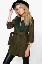 Boohoo Boutique Eve Bonded Waterfall Trench
