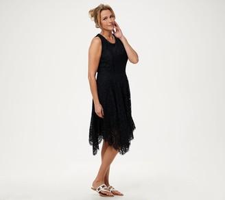 Isaac Mizrahi Live! Regular Handkerchief Hem Floral Lace Midi Dress
