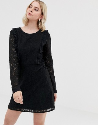 Brave Soul lace overlay long sleeve mini dress