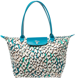 Longchamp Turquoise Phanter Coral Print Canvas and Leather Medium Le Pliage Tote