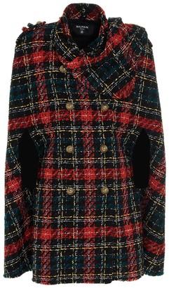 Balmain Tartan Tweed Cape Coat