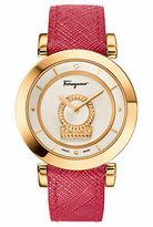 Salvatore Ferragamo Ladies Minuetto Goldtone and Saffiano Leather Strap Watch