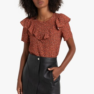La Redoute Collections Ruffled Floral Print Blouse with Short Sleeves