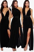 boohoo Marjorie Multiway Side Split Skirt Maxi Dress black