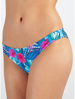 John Lewis Lush Tropical Side Ruched Bikini Briefs, Blue/Multi