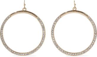 Kenneth Jay Lane 22-karat Gold-plated Crystal Hoop Earrings