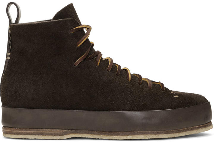 Feit Brown Suede Hand Sewn High Sneakers