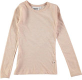 Molo Ramona Long-Sleeve Metallic Jersey Tee, Blush, Size 3-14