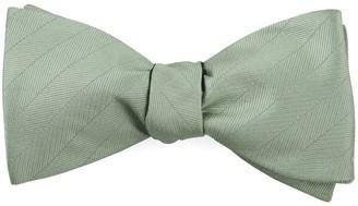 Tie Bar Herringbone Vow Sage Green Bow Tie