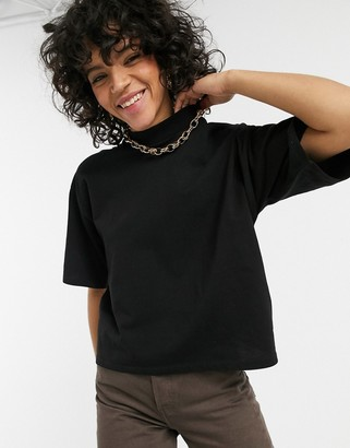 ASOS DESIGN boxy crop t-shirt with high neck in black