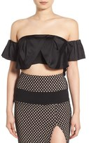 KENDALL + KYLIE Women's Ruffle Off The Shoulder Crop Top