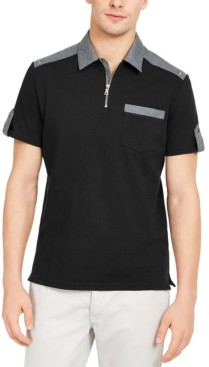INC International Concepts Inc Men's Big & Tall Colorblocked Zip Polo Shirt, Created for Macy's