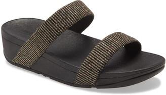 FitFlop Lottie Glitter Stripe Platform Slide Sandal