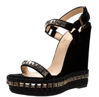 Christian Louboutin Black Studded Velvet Cataclou Espadrille Wedge Sandals Size 37