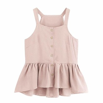 Resplend Vest Tops Solid Color Ruffle Camisole Vest Tops